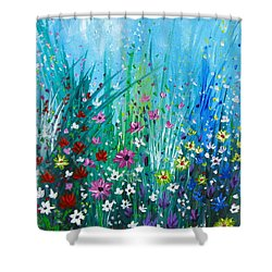 Garden At Early Morning Shower Curtain by Kume Bryant