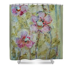 Shower Curtain featuring the painting Garden Bliss by Mary Wolf