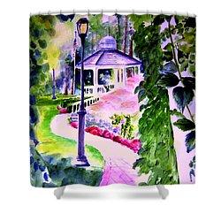 Garden City Gazebo Shower Curtain by Sandy Ryan