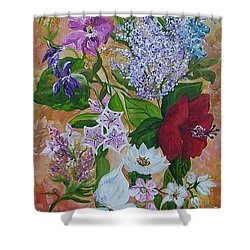 Shower Curtain featuring the painting Garden Delight by Eloise Schneider