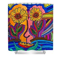 Garden Face - Lotus Pond - Daisy Eyes Shower Curtain