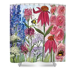 Garden Flower And Bees Shower Curtain