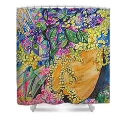 Garden Flowers In A Pot Shower Curtain by Esther Newman-Cohen