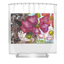 Shower Curtain featuring the painting Garden Nap by Reina Resto