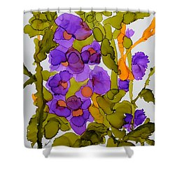 Garden Of Hollyhocks Shower Curtain