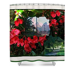 Shower Curtain featuring the photograph Garden Whispers In A Green Frame by Leanne Seymour