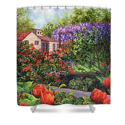 Garden With Tulips And Wisteria Shower Curtain by Susan Savad