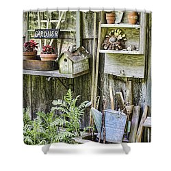 Gardener Corner Shower Curtain by Heather Applegate