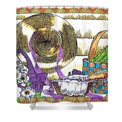 Shower Curtain featuring the drawing Gardener's Basket by Seth Weaver
