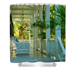 Gardens Porch In Key West Shower Curtain