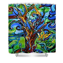 Gargoyle Tree With Crow Shower Curtain by Genevieve Esson