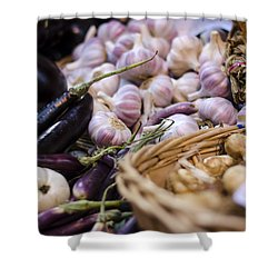 Garlic At The Market Shower Curtain by Heather Applegate