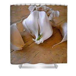 Shower Curtain featuring the digital art Garlic Green by Aliceann Carlton