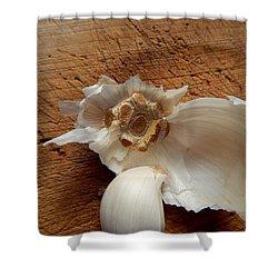 Shower Curtain featuring the digital art Garlic Is Life by Aliceann Carlton