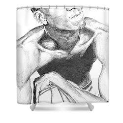 Shower Curtain featuring the drawing Garnett 2 by Tamir Barkan