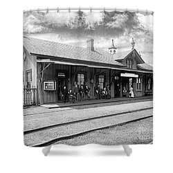 Garrison Train Station In Black And White Shower Curtain
