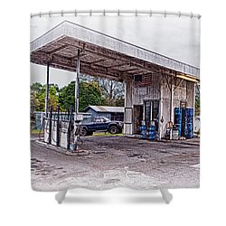 Shower Curtain featuring the photograph Gasoline Station by Jim Thompson