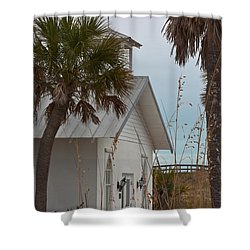 Shower Curtain featuring the photograph Gasparilla Island State Park Chapel by Ed Gleichman