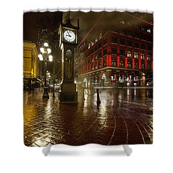 Gastown Steam Clock On A Rainy Night Vertical Shower Curtain by Jit Lim
