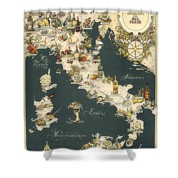 Gastronomic Map Of Italy 1949 Shower Curtain