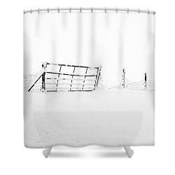Gate In Snow Shower Curtain by Anne Gilbert