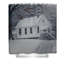 Shower Curtain featuring the painting Gates Chapel - Ellijay - Signed By Artist by Jan Dappen