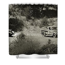 Gathering Black And White Shower Curtain