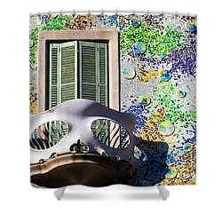 Gaudis Skull Balcony And Mosaic Walls Shower Curtain by Rene Triay Photography