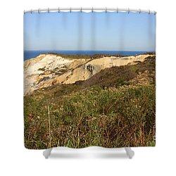 Gay Head Lighthouse With Aquinnah Beach Cliffs Shower Curtain by Carol Groenen