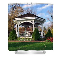 Shower Curtain featuring the photograph Gazebo At Olmsted Falls - 1 by Mark Madere
