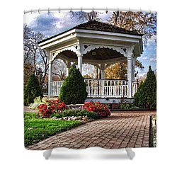 Shower Curtain featuring the photograph Gazebo At Olmsted Falls - 3 by Mark Madere