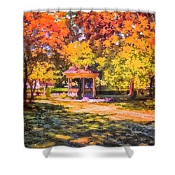 Gazebo On A Autumn Day Shower Curtain by Thomas Woolworth