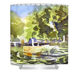 Gazebo With Pond And Fountain II Shower Curtain by Kip DeVore