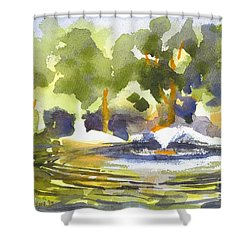 Gazebo With Pond And Fountain Shower Curtain by Kip DeVore