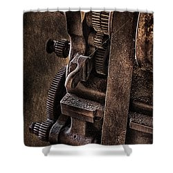 Gears And Pulley Shower Curtain by Susan Candelario