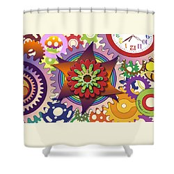 Gears Shower Curtain by Gerry Robins