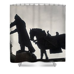 Gediminas Statue In Vilnius At Sunset Shower Curtain