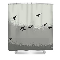 Shower Curtain featuring the photograph Geese In Sillouehette by Nina Silver