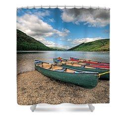 Geirionydd Lake Shower Curtain by Adrian Evans