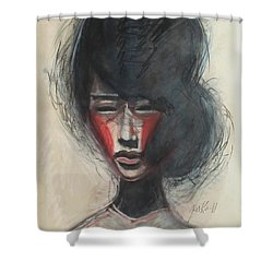 Shower Curtain featuring the painting Geisha Make Up by Jarmo Korhonen aka Jarko