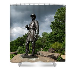 General K Warren Monument Gettysburg Shower Curtain by James Brunker