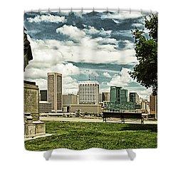 General Smith Overlooks Baltimore Harbor Shower Curtain