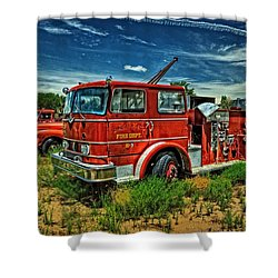 Shower Curtain featuring the photograph Generations Of Fire Fighting Equipment by Ken Smith