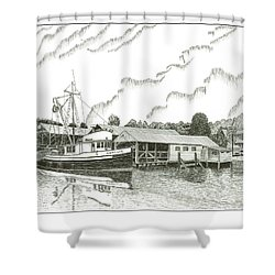 Genius Ready To Fish Gig Harbor Shower Curtain by Jack Pumphrey
