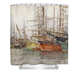 Genoa Harbour, 1904 Shower Curtain by Henry Scott Tuke