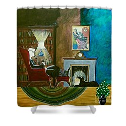 Gentleman Sitting In Wingback Chair Enjoying A Brandy Shower Curtain
