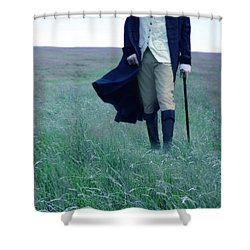 Gentleman Walking In The Country Shower Curtain by Jill Battaglia
