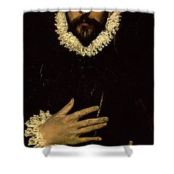 Gentleman With His Hand On His Chest Shower Curtain by El Greco Domenico Theotocopuli