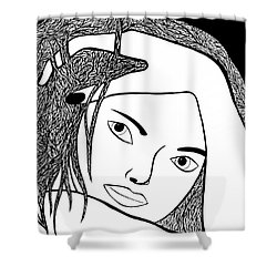 Shower Curtain featuring the drawing Genuine by Jamie Lynn