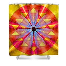 Shower Curtain featuring the drawing Geo-cosmic Sri Yantra by Derek Gedney